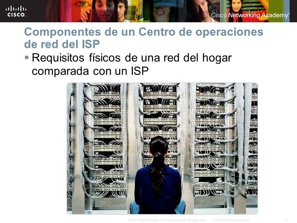 14Información pública de Cisco© 2007 Cisco Systems, Inc. Todos los derechos reservados. Componentes de un Centro de operaciones de red del ISP Requisi