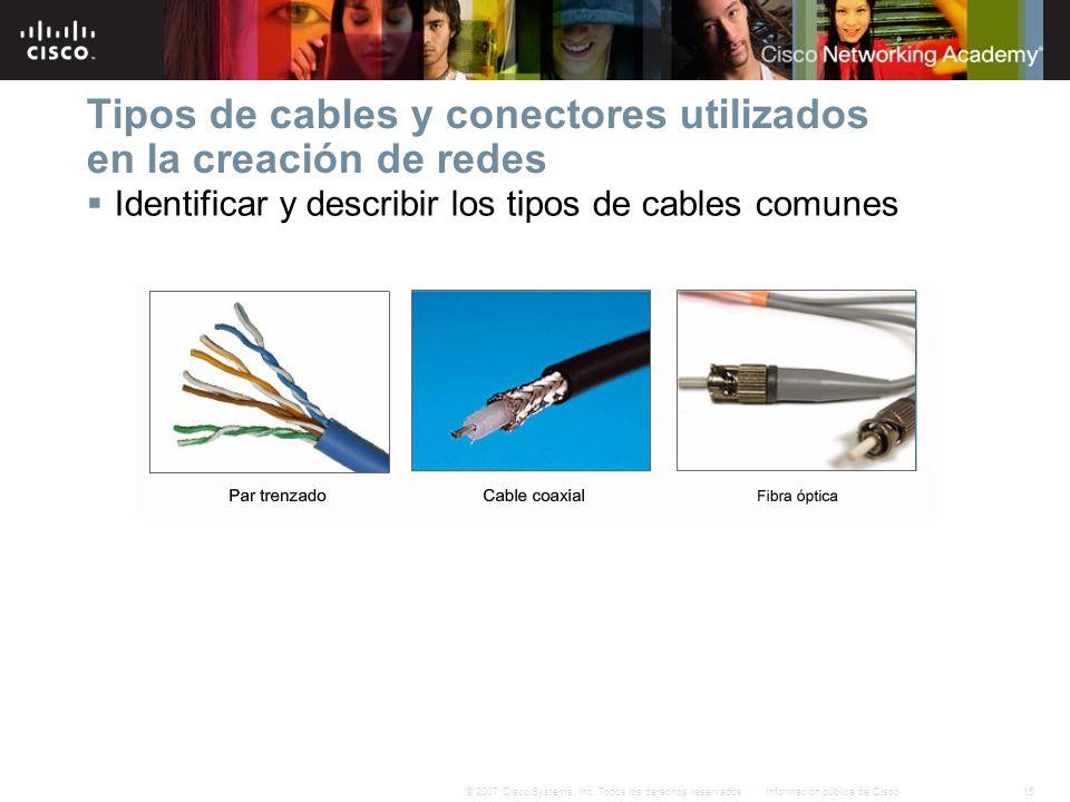 15Información pública de Cisco© 2007 Cisco Systems, Inc. Todos los derechos reservados. Tipos de cables y conectores utilizados en la creación de rede