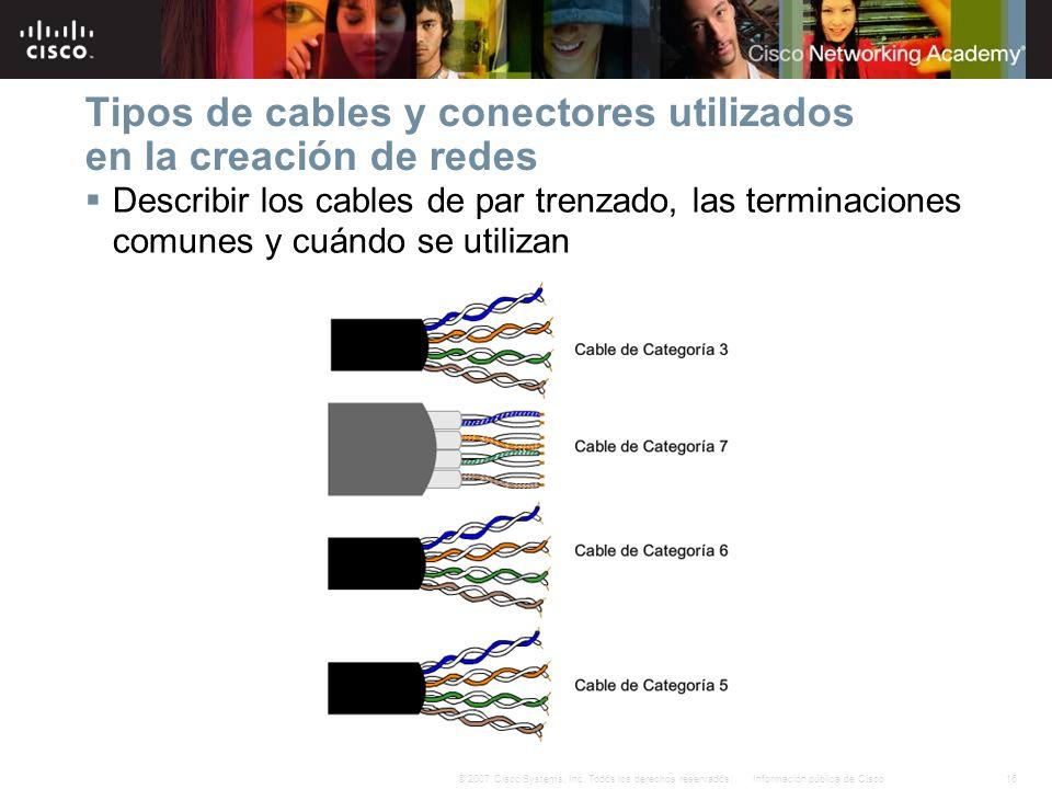 16Información pública de Cisco© 2007 Cisco Systems, Inc. Todos los derechos reservados. Tipos de cables y conectores utilizados en la creación de rede