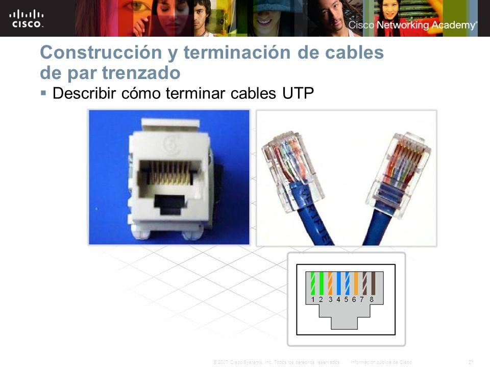 21Información pública de Cisco© 2007 Cisco Systems, Inc. Todos los derechos reservados. Construcción y terminación de cables de par trenzado Describir