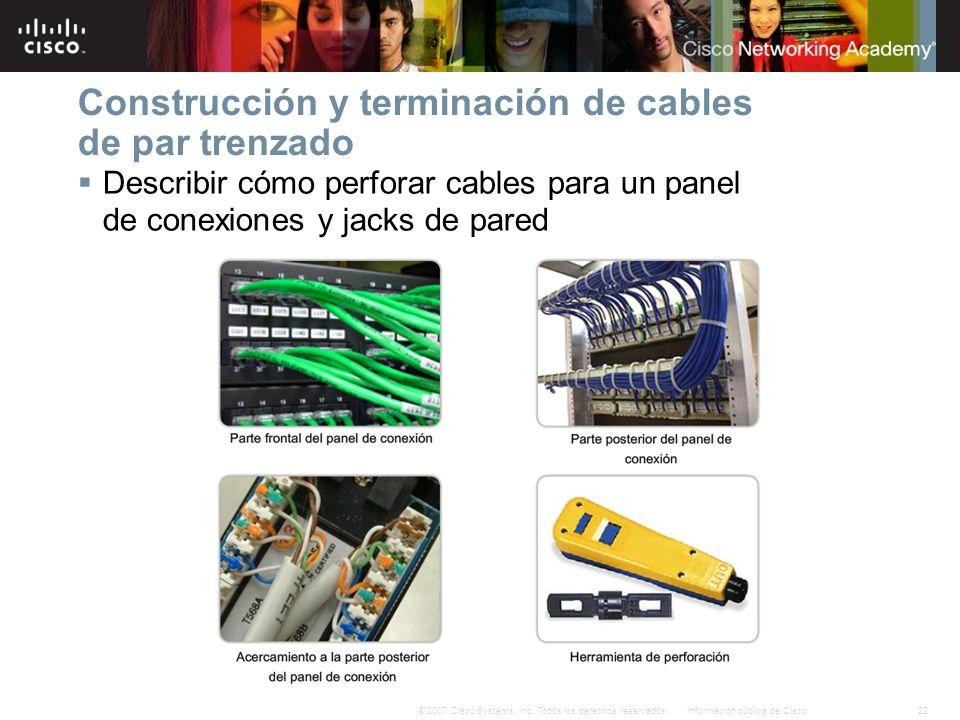 22Información pública de Cisco© 2007 Cisco Systems, Inc. Todos los derechos reservados. Construcción y terminación de cables de par trenzado Describir