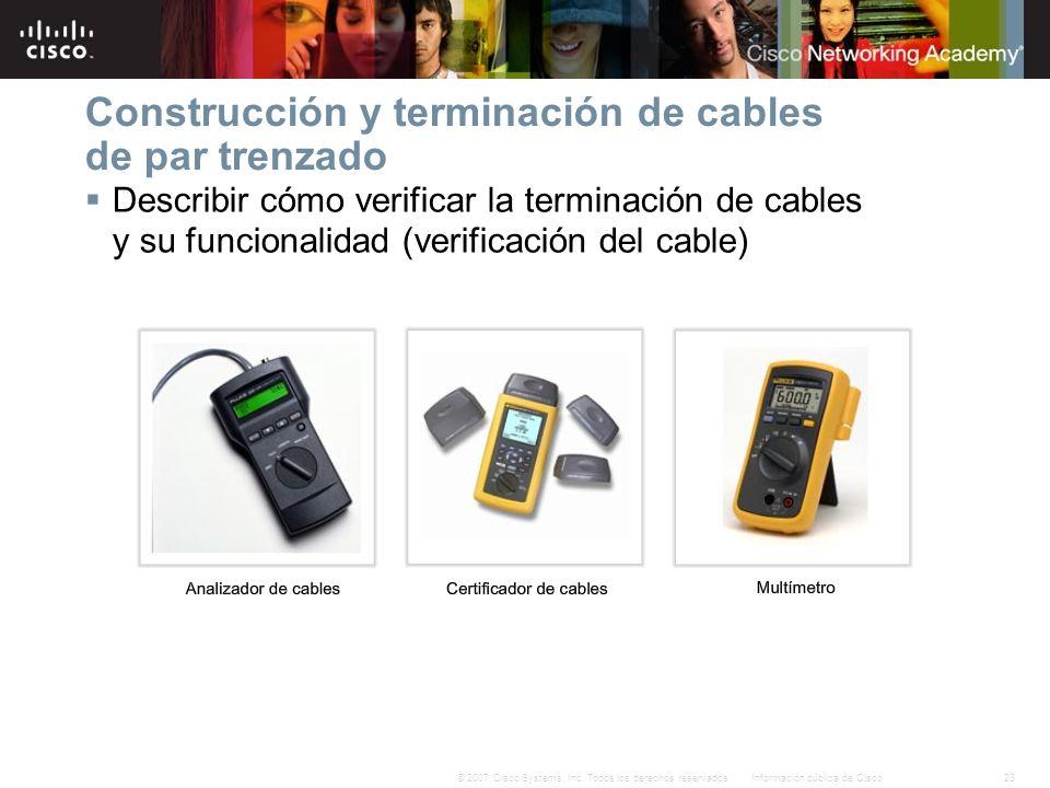 23Información pública de Cisco© 2007 Cisco Systems, Inc. Todos los derechos reservados. Construcción y terminación de cables de par trenzado Describir