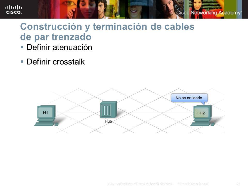 24Información pública de Cisco© 2007 Cisco Systems, Inc. Todos los derechos reservados. Construcción y terminación de cables de par trenzado Definir a