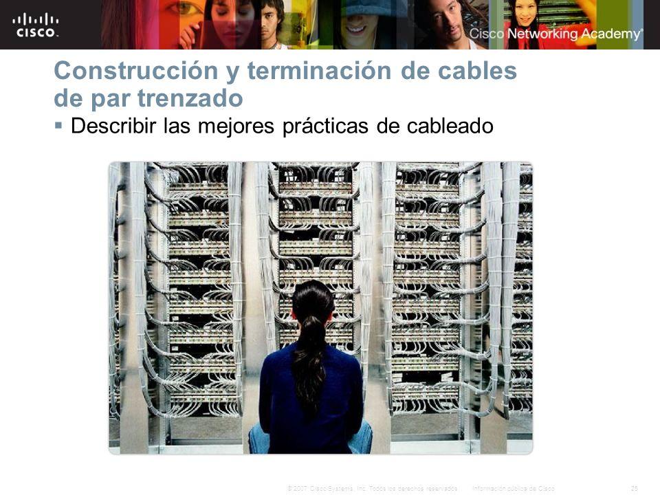 25Información pública de Cisco© 2007 Cisco Systems, Inc. Todos los derechos reservados. Construcción y terminación de cables de par trenzado Describir