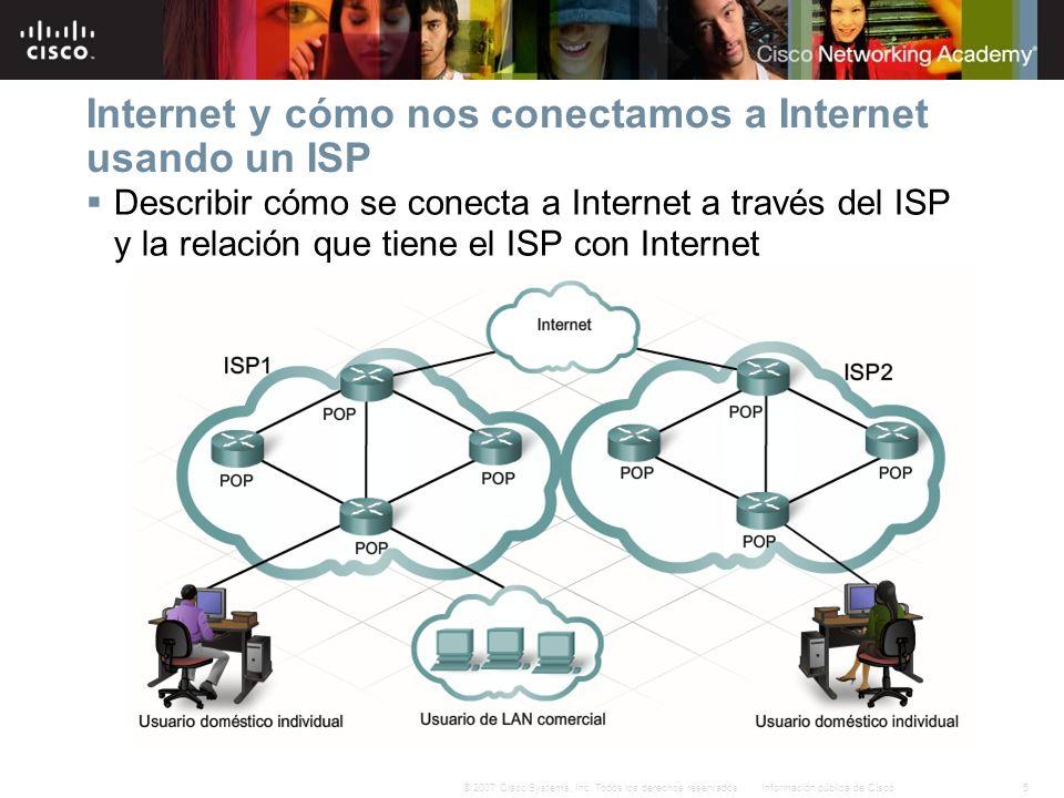 5Información pública de Cisco© 2007 Cisco Systems, Inc. Todos los derechos reservados. Internet y cómo nos conectamos a Internet usando un ISP Describ
