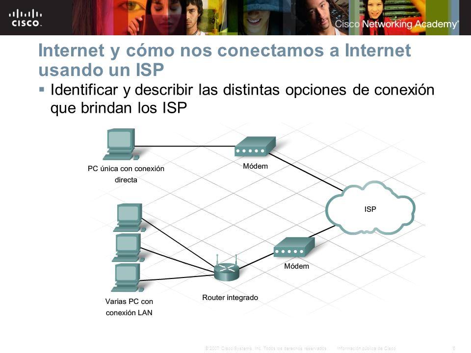 6Información pública de Cisco© 2007 Cisco Systems, Inc. Todos los derechos reservados. Internet y cómo nos conectamos a Internet usando un ISP Identif