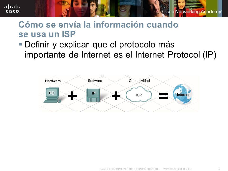 8Información pública de Cisco© 2007 Cisco Systems, Inc. Todos los derechos reservados. Cómo se envía la información cuando se usa un ISP Definir y exp