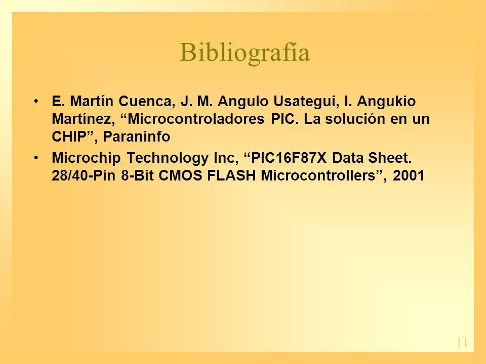 11 Bibliografía E. Martín Cuenca, J. M. Angulo Usategui, I. Angukio Martínez, Microcontroladores PIC. La solución en un CHIP, Paraninfo Microchip Tech