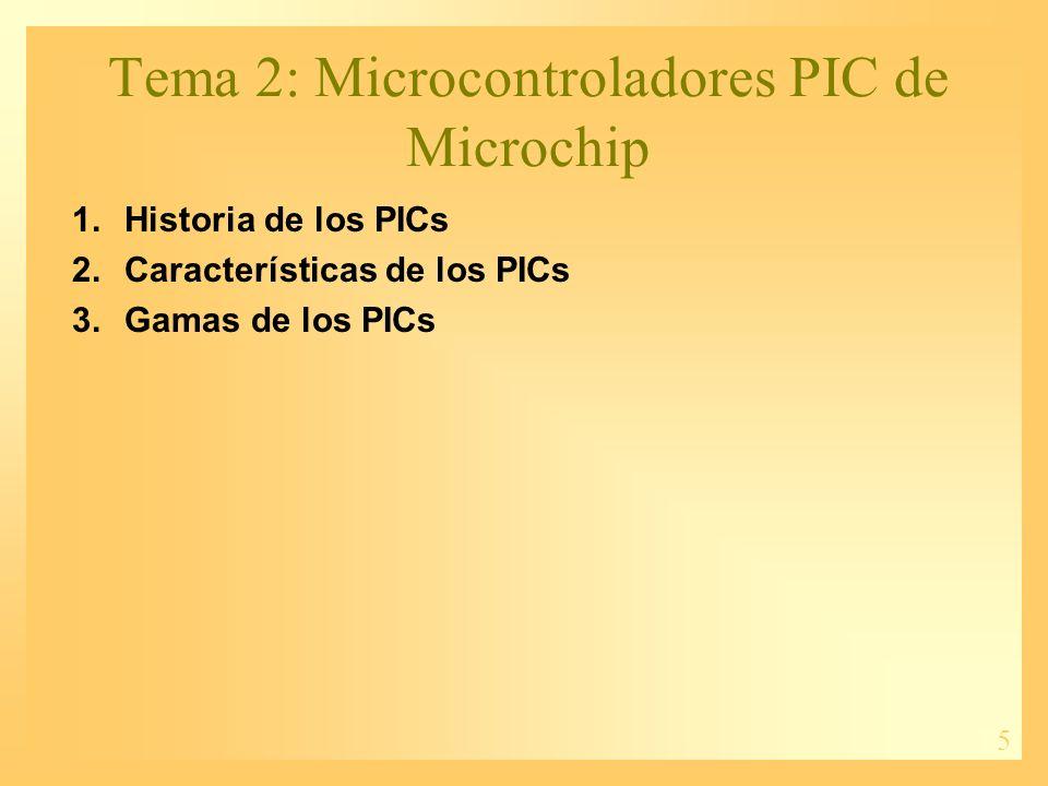 5 Tema 2: Microcontroladores PIC de Microchip 1.Historia de los PICs 2.Características de los PICs 3.Gamas de los PICs