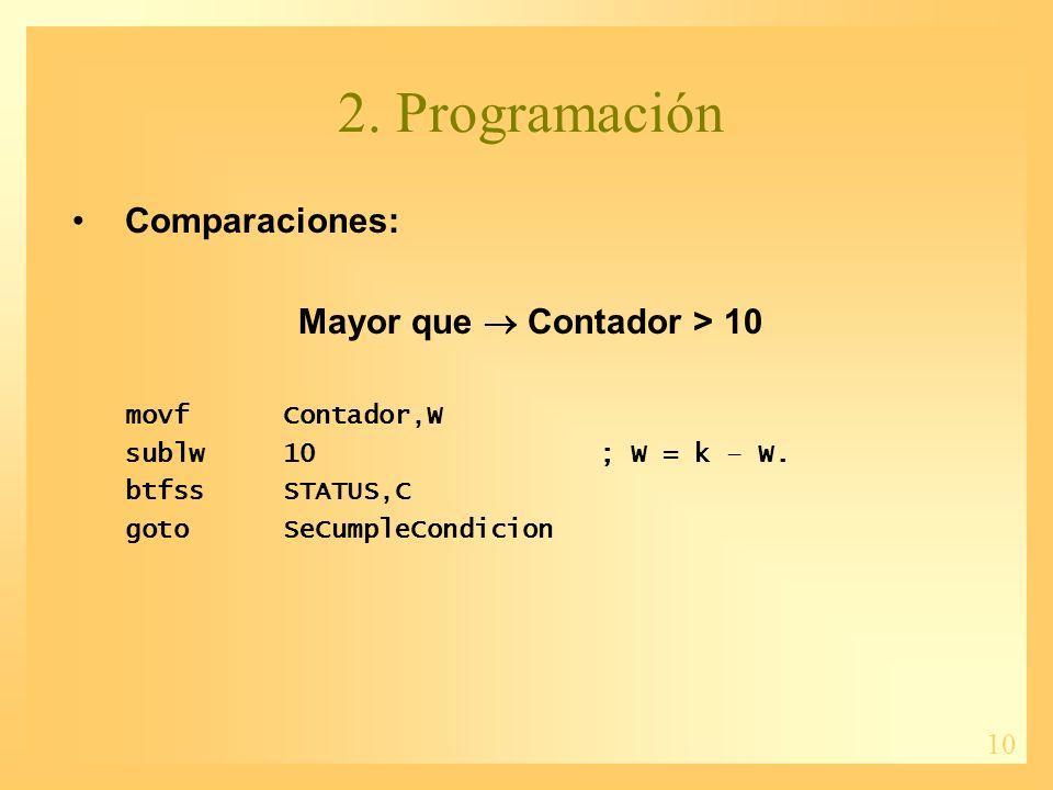 10 2. Programación Comparaciones: Mayor que Contador > 10 movfContador,W sublw10; W = k – W.