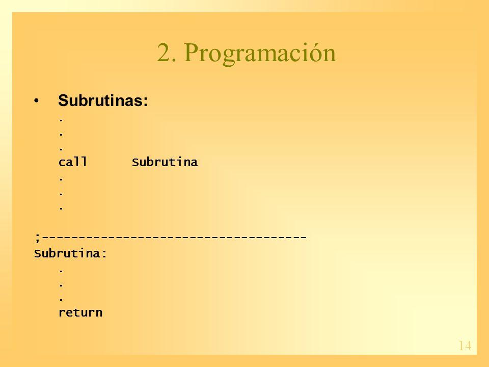 14 2. Programación Subrutinas:. callSubrutina. ;------------------------------------ Subrutina:.