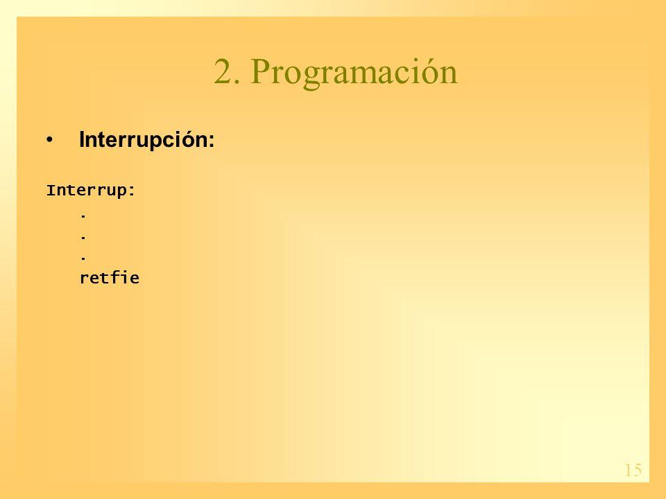 15 2. Programación Interrupción: Interrup:. retfie