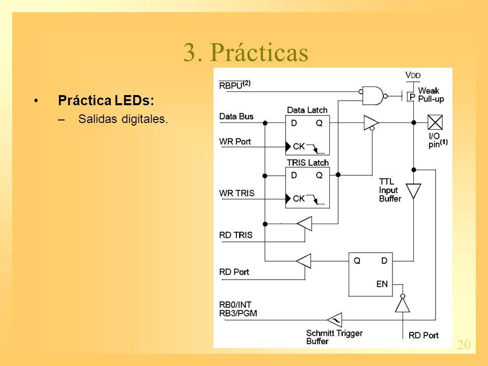 20 3. Prácticas Práctica LEDs: –Salidas digitales.