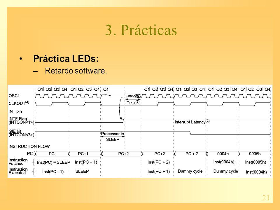 21 3. Prácticas Práctica LEDs: –Retardo software.