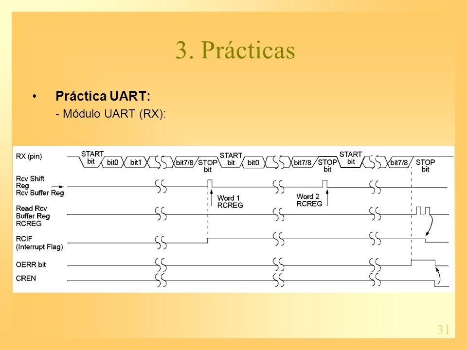 31 3. Prácticas Práctica UART: - Módulo UART (RX):
