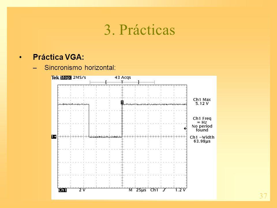 37 3. Prácticas Práctica VGA: –Sincronismo horizontal: