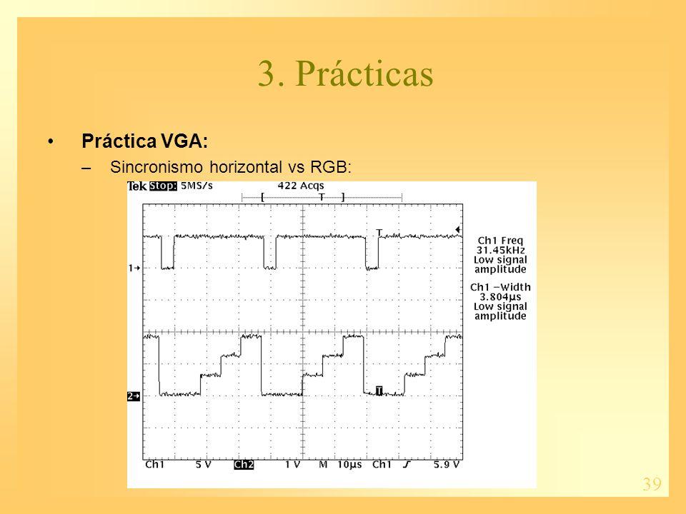 39 3. Prácticas Práctica VGA: –Sincronismo horizontal vs RGB: