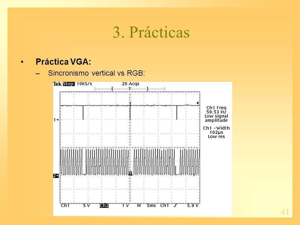 41 3. Prácticas Práctica VGA: –Sincronismo vertical vs RGB: