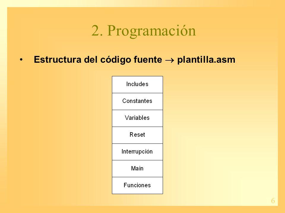 7 2.Programación Directivas del ensamblador: –Control.
