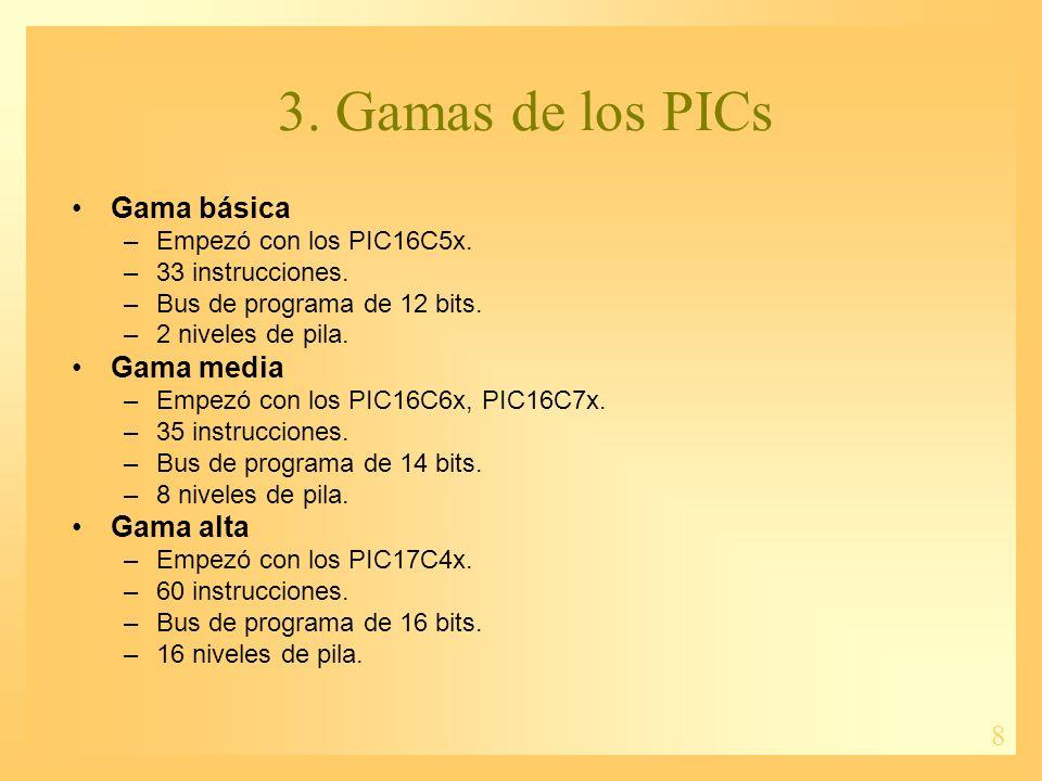 8 Gama básica –Empezó con los PIC16C5x. –33 instrucciones. –Bus de programa de 12 bits. –2 niveles de pila. Gama media –Empezó con los PIC16C6x, PIC16