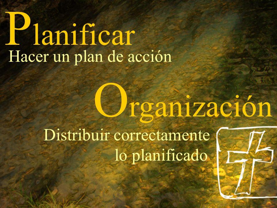 P lanificar Hacer un plan de acción O rganización Distribuir correctamente lo planificado