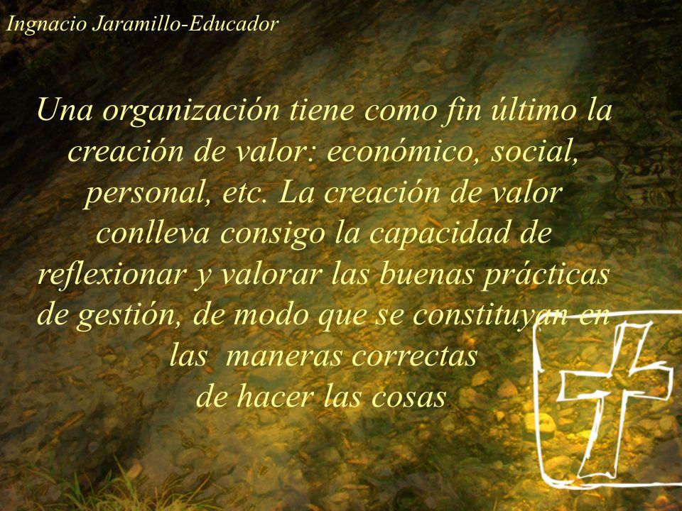 Una organización tiene como fin último la creación de valor: económico, social, personal, etc. La creación de valor conlleva consigo la capacidad de r