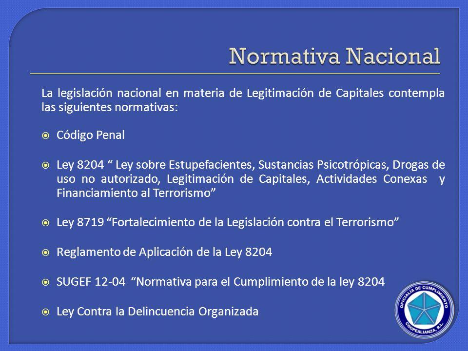 La legislación nacional en materia de Legitimación de Capitales contempla las siguientes normativas: Código Penal Ley 8204 Ley sobre Estupefacientes,