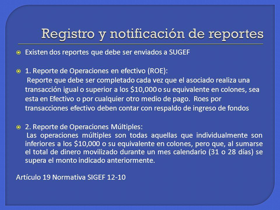 Existen dos reportes que debe ser enviados a SUGEF 1. Reporte de Operaciones en efectivo (ROE): Reporte que debe ser completado cada vez que el asocia