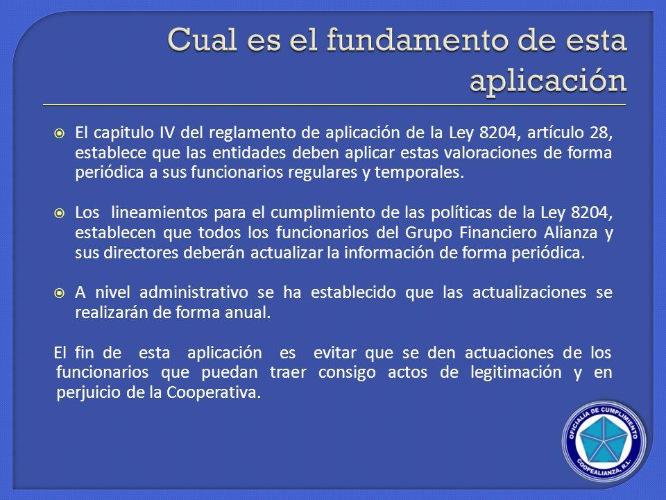 El capitulo IV del reglamento de aplicación de la Ley 8204, artículo 28, establece que las entidades deben aplicar estas valoraciones de forma periódi