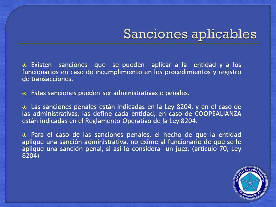 Existen sanciones que se pueden aplicar a la entidad y a los funcionarios en caso de incumplimiento en los procedimientos y registro de transacciones.