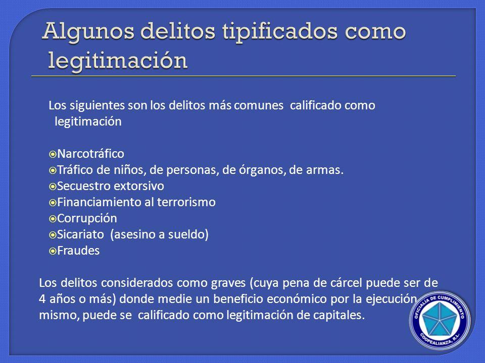 Los siguientes son los delitos más comunes calificado como legitimación Narcotráfico Tráfico de niños, de personas, de órganos, de armas. Secuestro ex