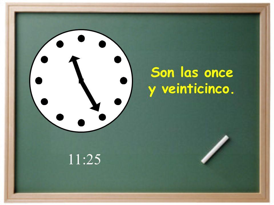 Son las tres y diez. 3:10