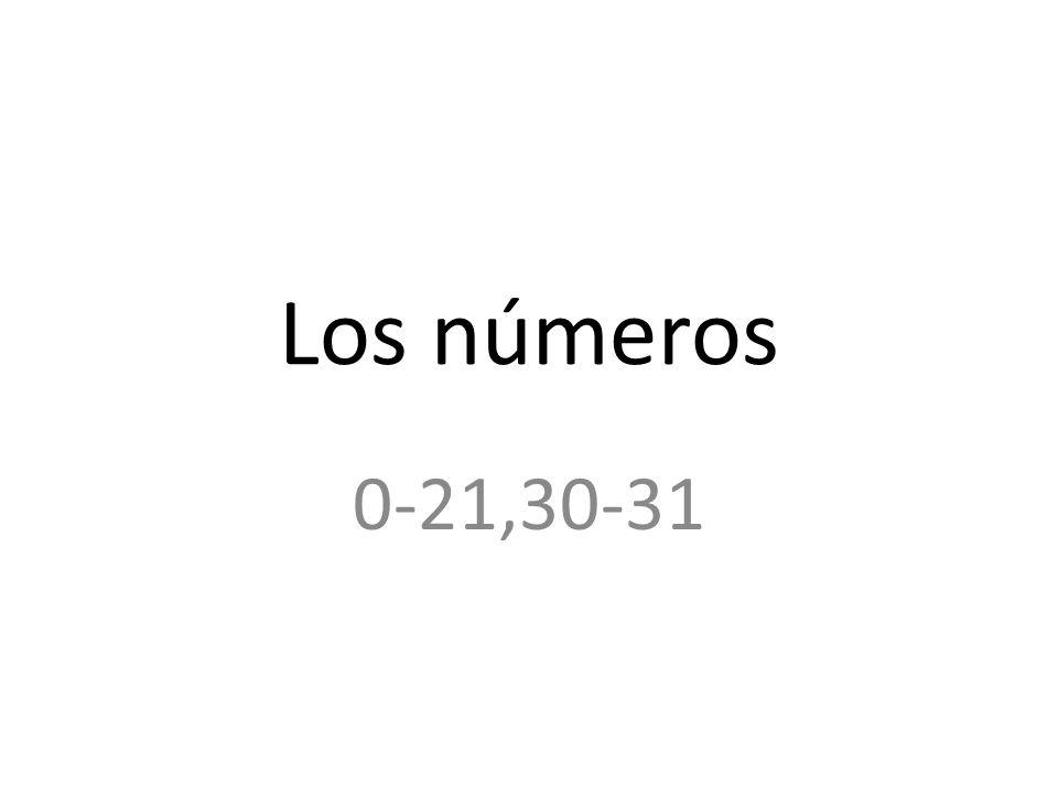 Los números 0-21,30-31