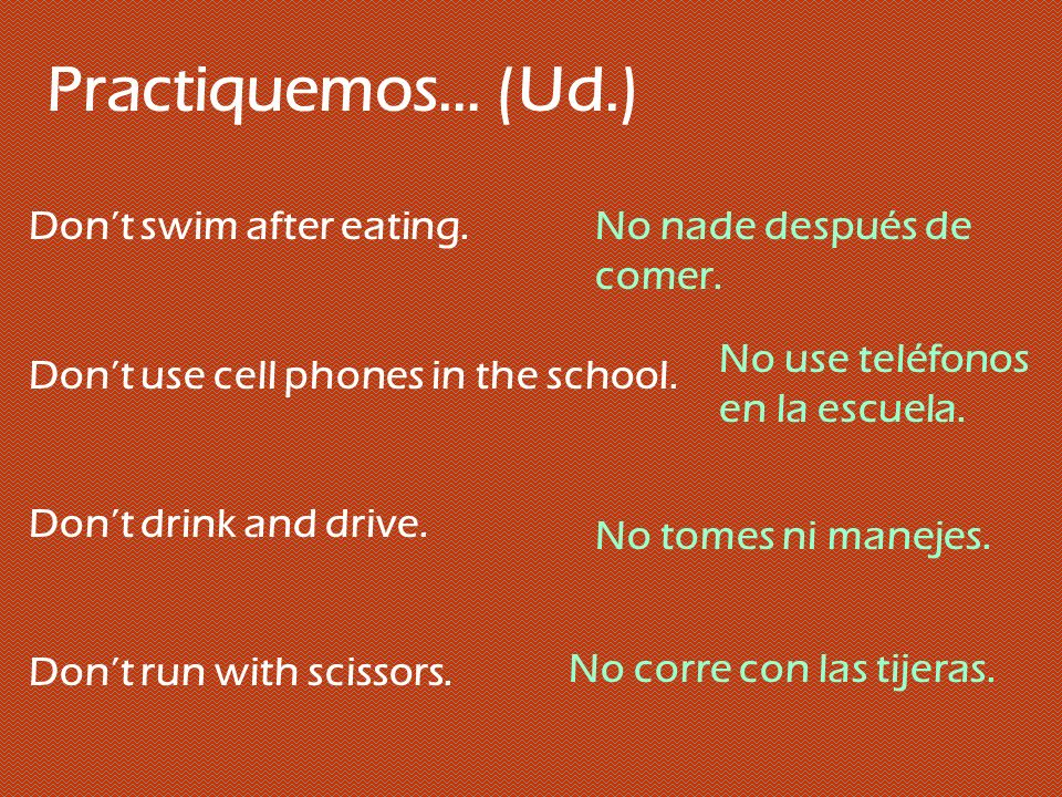 Practiquemos….(Uds.) Write your names. Take out your books.