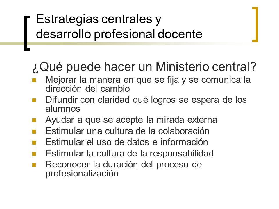 Estrategias centrales y desarrollo profesional docente ¿Qué puede hacer un Ministerio central? Mejorar la manera en que se fija y se comunica la direc