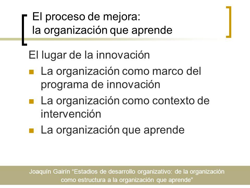 El proceso de mejora: la organización que aprende El lugar de la innovación La organización como marco del programa de innovación La organización como