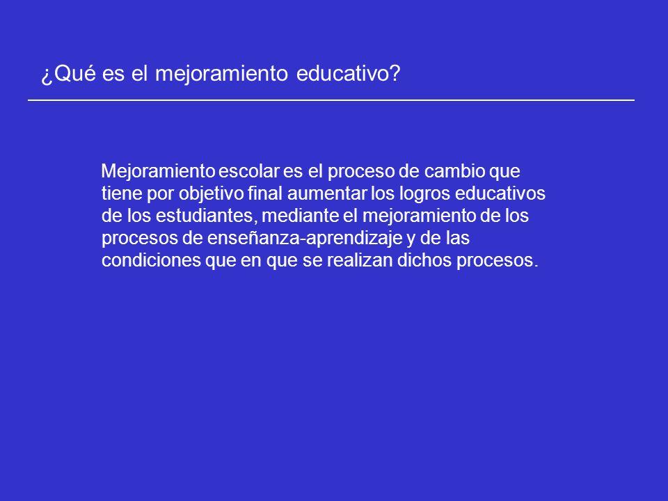 Mejoramiento escolar es el proceso de cambio que tiene por objetivo final aumentar los logros educativos de los estudiantes, mediante el mejoramiento de los procesos de enseñanza-aprendizaje y de las condiciones que en que se realizan dichos procesos.
