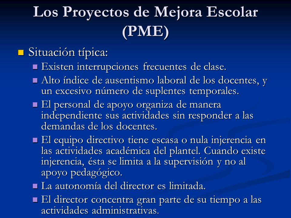 Los Proyectos de Mejora Escolar (PME) Situación típica: Situación típica: Existen interrupciones frecuentes de clase. Existen interrupciones frecuente