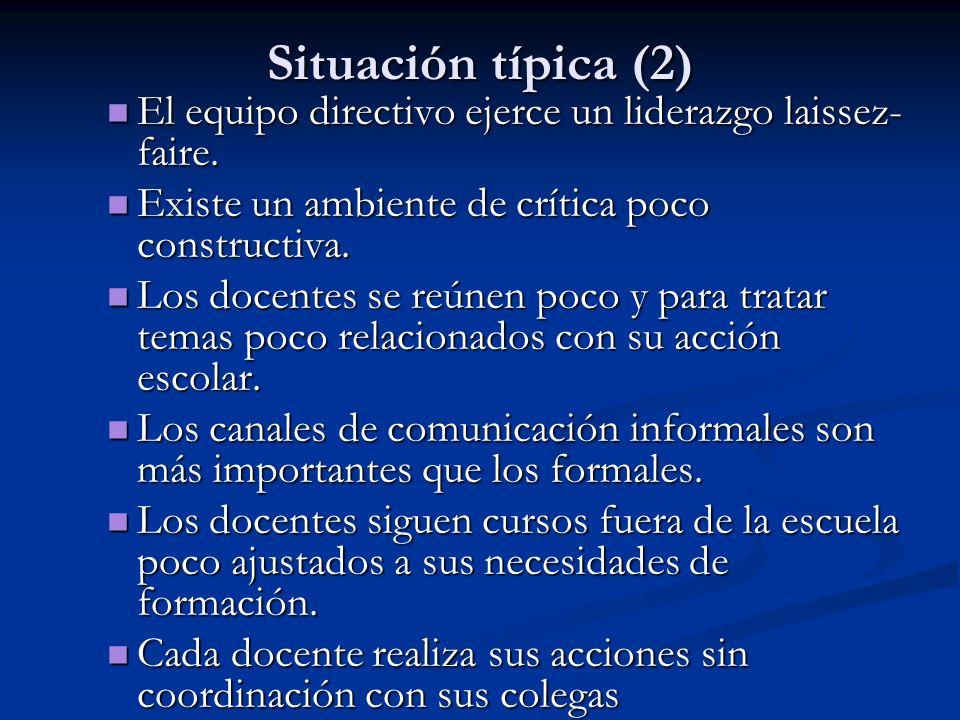 Situación típica (2) El equipo directivo ejerce un liderazgo laissez- faire. El equipo directivo ejerce un liderazgo laissez- faire. Existe un ambient