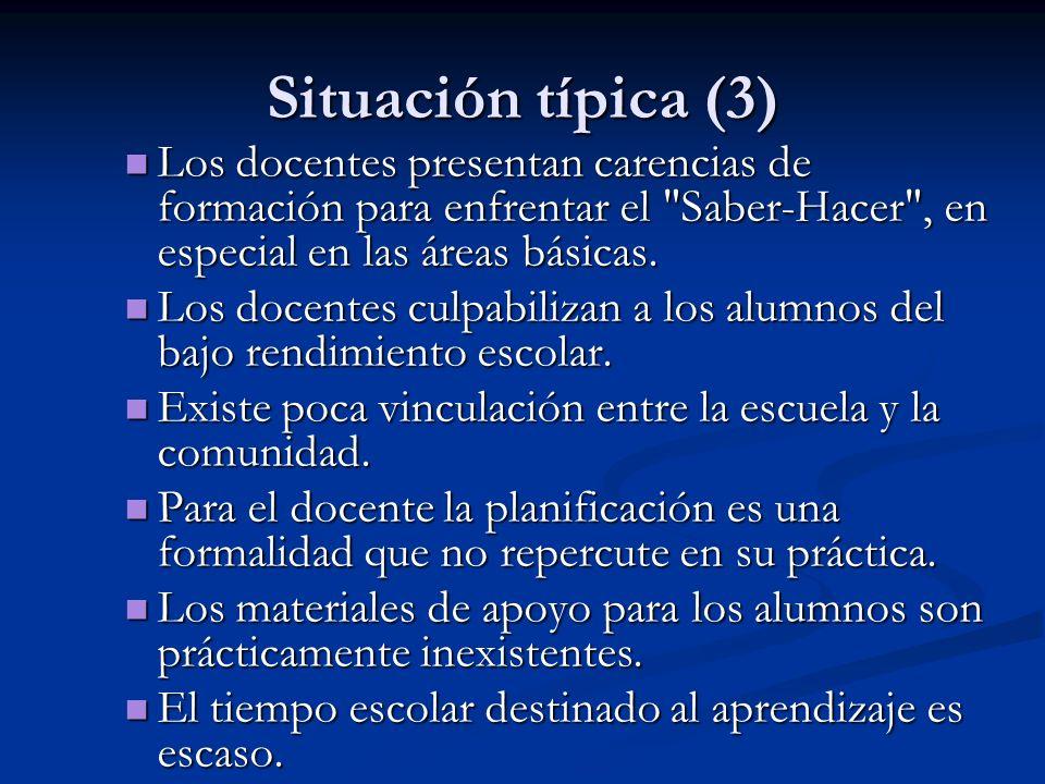 Situación típica (3) Los docentes presentan carencias de formación para enfrentar el Saber-Hacer , en especial en las áreas básicas.
