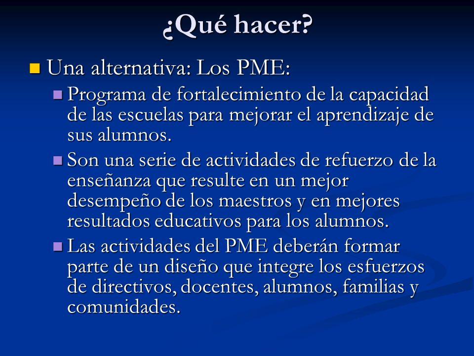 ¿Qué hacer? Una alternativa: Los PME: Una alternativa: Los PME: Programa de fortalecimiento de la capacidad de las escuelas para mejorar el aprendizaj