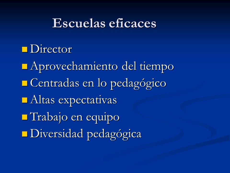 Escuelas eficaces Director Director Aprovechamiento del tiempo Aprovechamiento del tiempo Centradas en lo pedagógico Centradas en lo pedagógico Altas