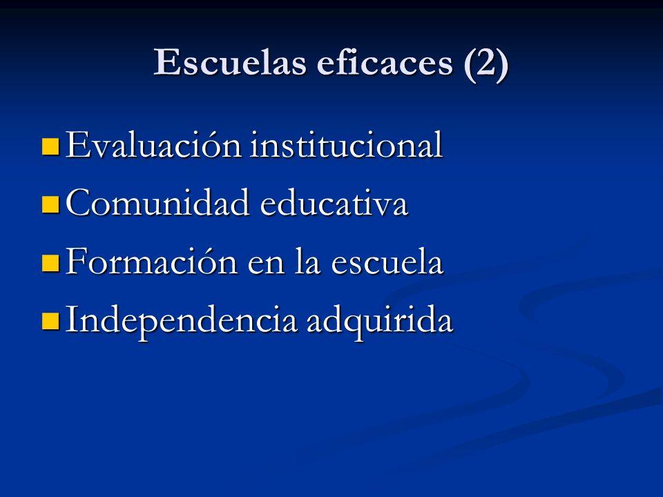 Escuelas eficaces (2) Evaluación institucional Evaluación institucional Comunidad educativa Comunidad educativa Formación en la escuela Formación en la escuela Independencia adquirida Independencia adquirida