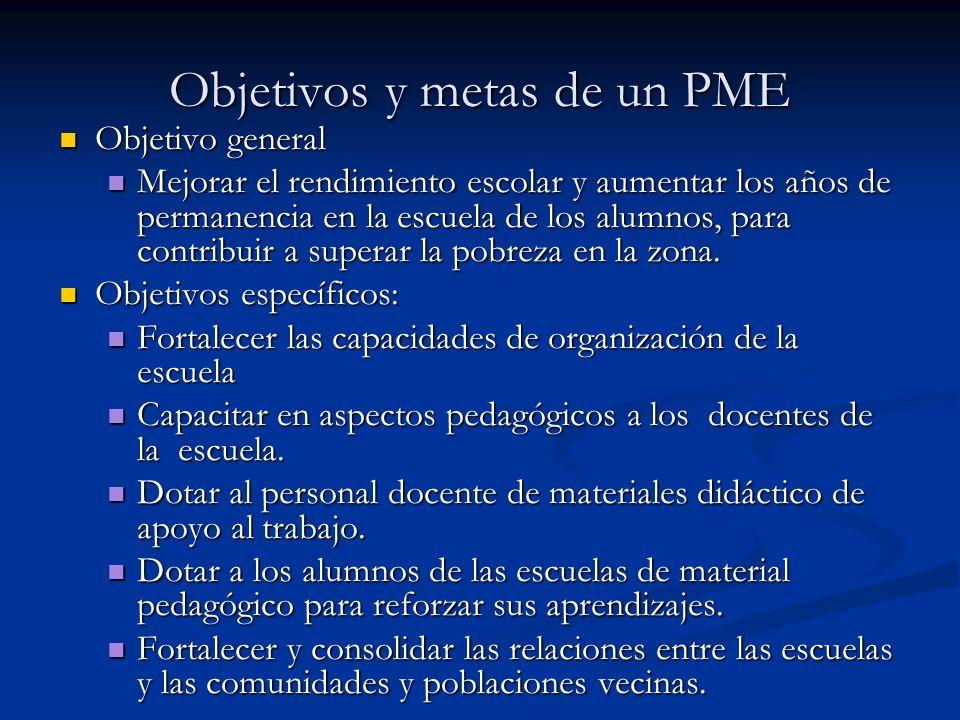 Objetivos y metas de un PME Objetivo general Objetivo general Mejorar el rendimiento escolar y aumentar los años de permanencia en la escuela de los a