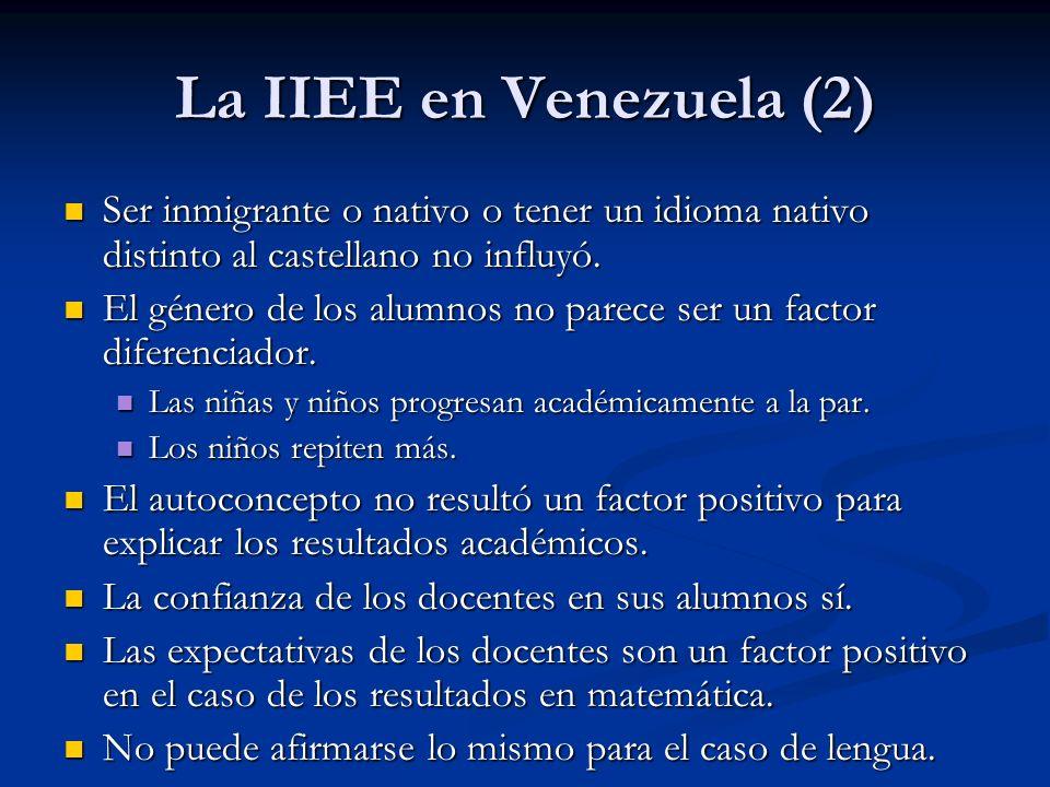 La IIEE en Venezuela (2) Ser inmigrante o nativo o tener un idioma nativo distinto al castellano no influyó. Ser inmigrante o nativo o tener un idioma