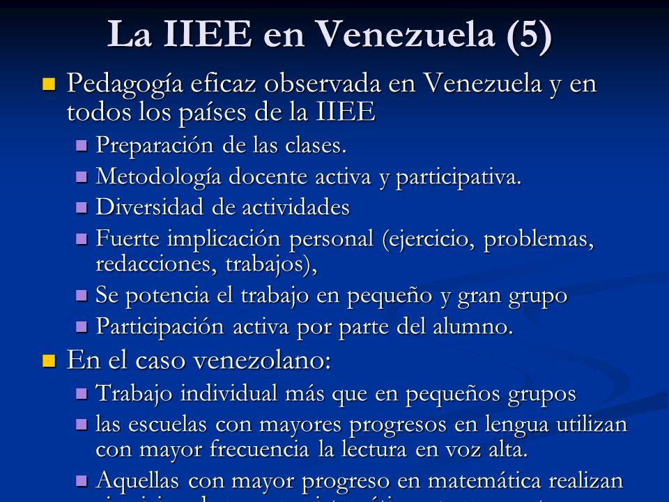 La IIEE en Venezuela (5) Pedagogía eficaz observada en Venezuela y en todos los países de la IIEE Pedagogía eficaz observada en Venezuela y en todos l