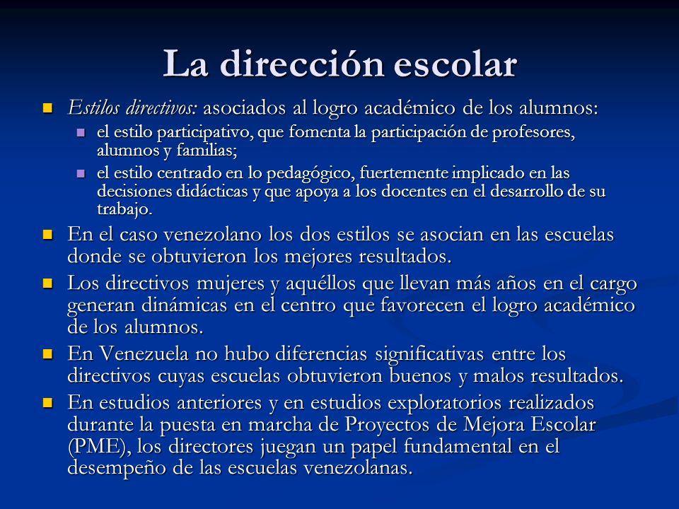 La dirección escolar Estilos directivos: asociados al logro académico de los alumnos: Estilos directivos: asociados al logro académico de los alumnos: