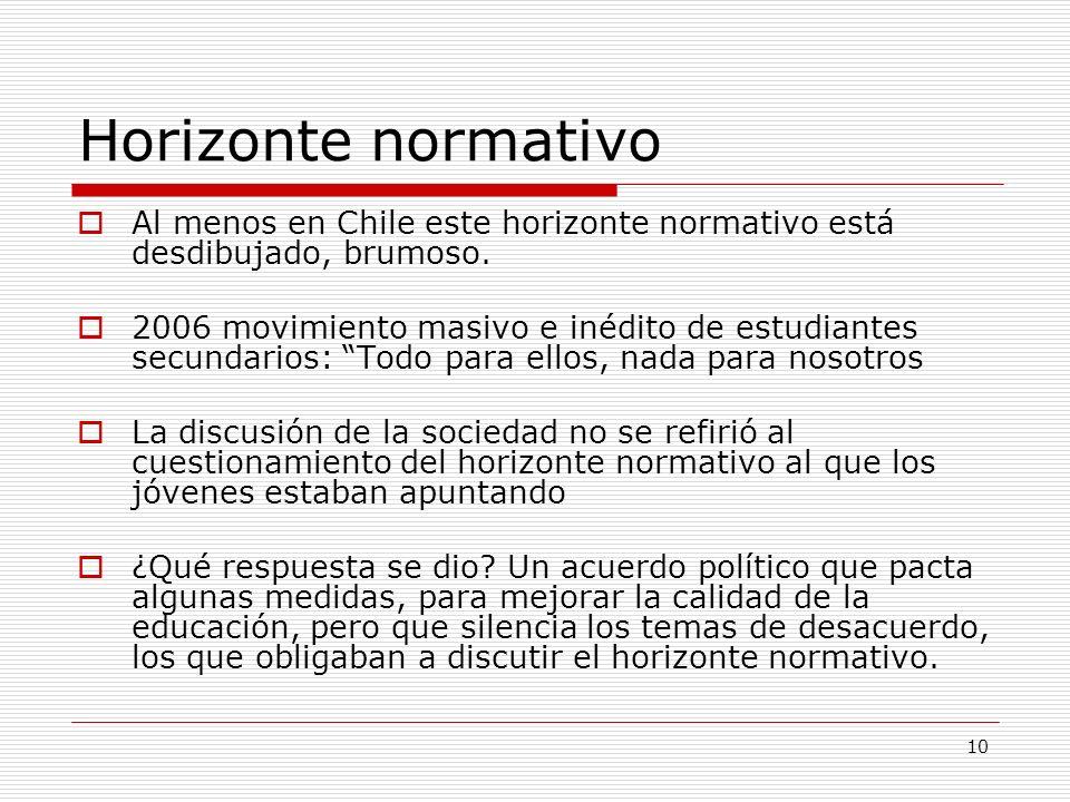 10 Horizonte normativo Al menos en Chile este horizonte normativo está desdibujado, brumoso. 2006 movimiento masivo e inédito de estudiantes secundari