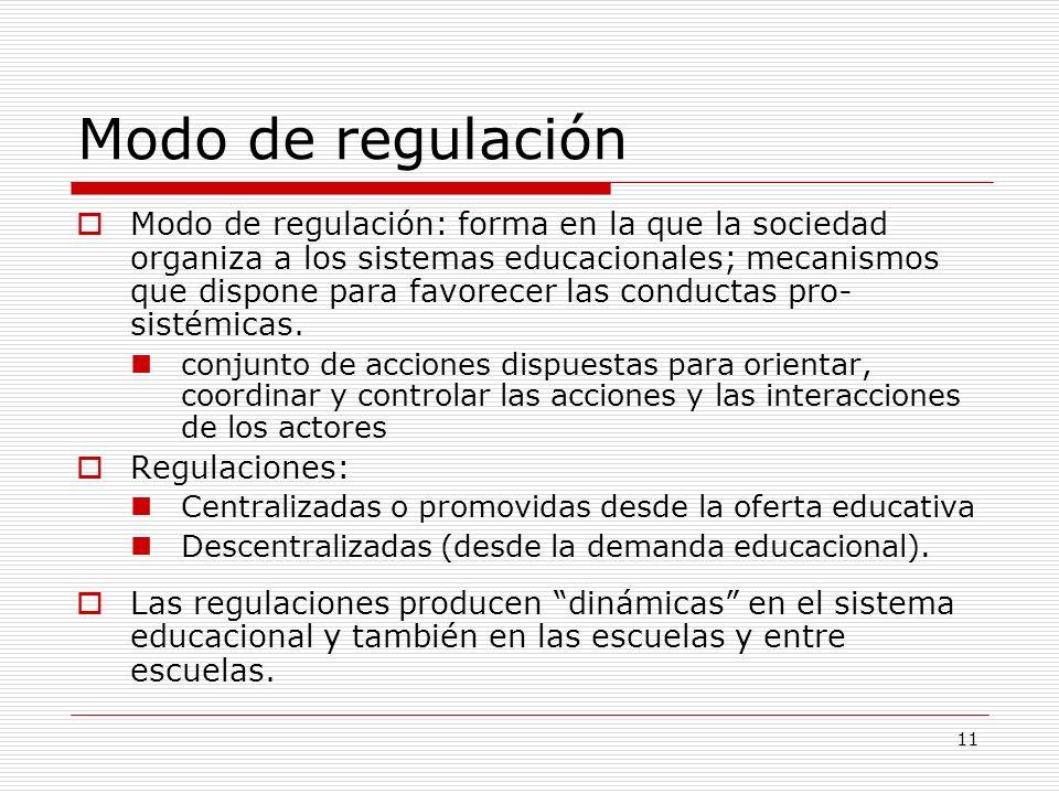 11 Modo de regulación Modo de regulación: forma en la que la sociedad organiza a los sistemas educacionales; mecanismos que dispone para favorecer las