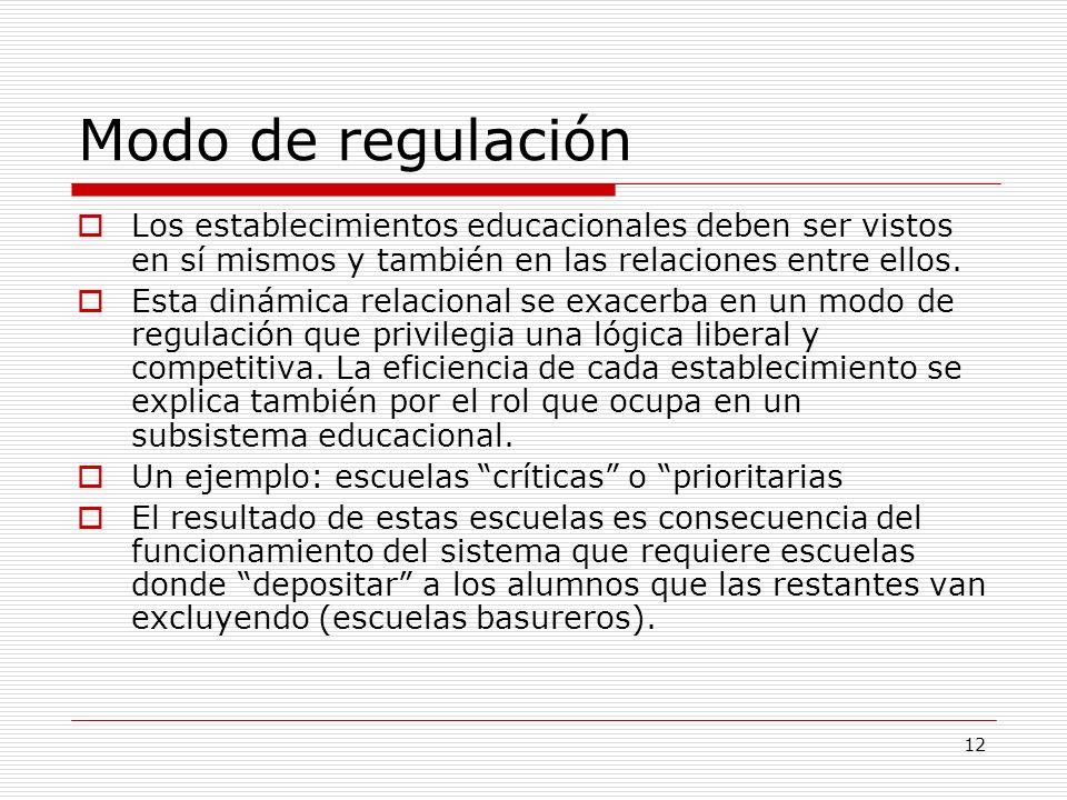 12 Modo de regulación Los establecimientos educacionales deben ser vistos en sí mismos y también en las relaciones entre ellos. Esta dinámica relacion